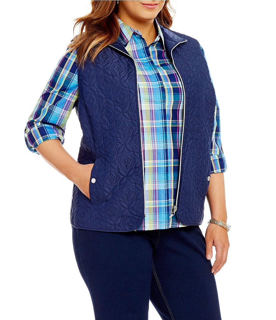 Allison Daley Plus Zip-Front Quilted Lined Vest