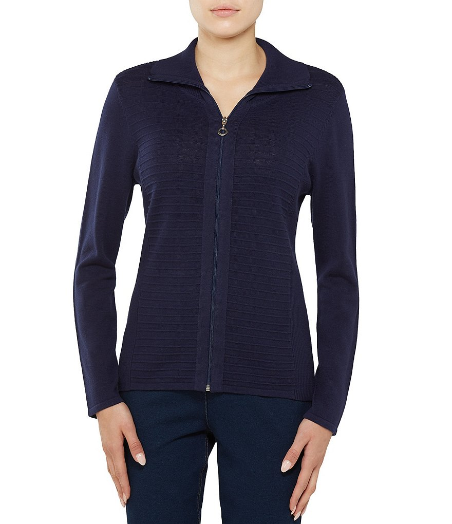 Allison Daley Polo Collar Zip Front Textured Cardigan