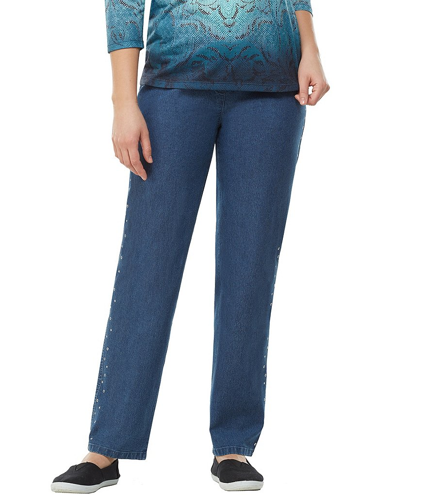 Allison Daley Pull-On Side Seam Embellished Straight Leg Jeans