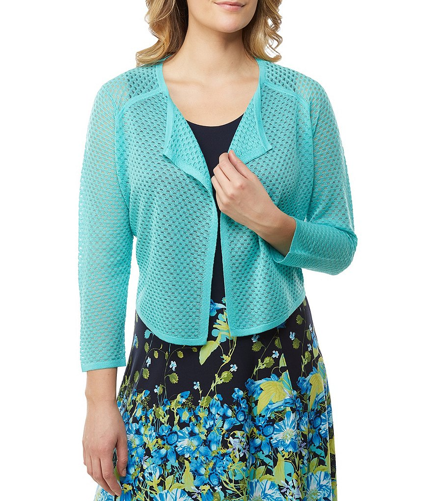 Allison Daley Raglan Sleeve Open Front Mesh Cardigan