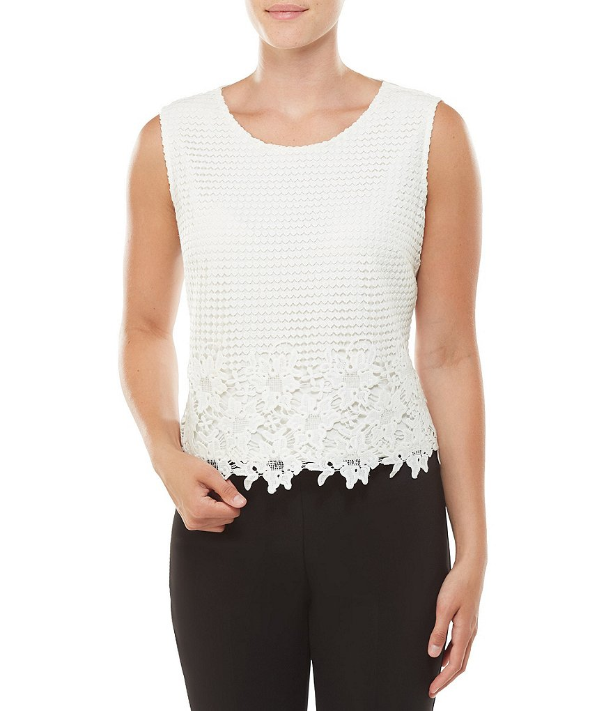 Allison Daley Scoop Neck Lace Overlay Front Knit Tank