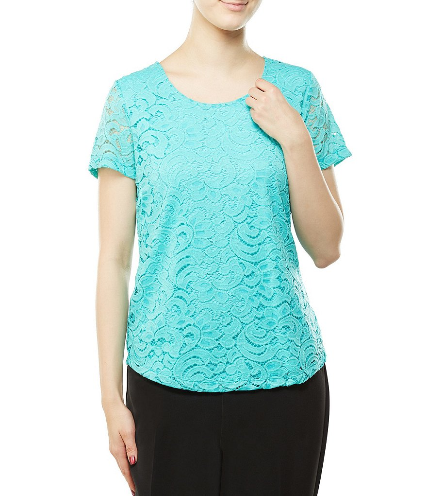 Allison Daley Scoop Neck Scroll Lace Overlay Solid Tee