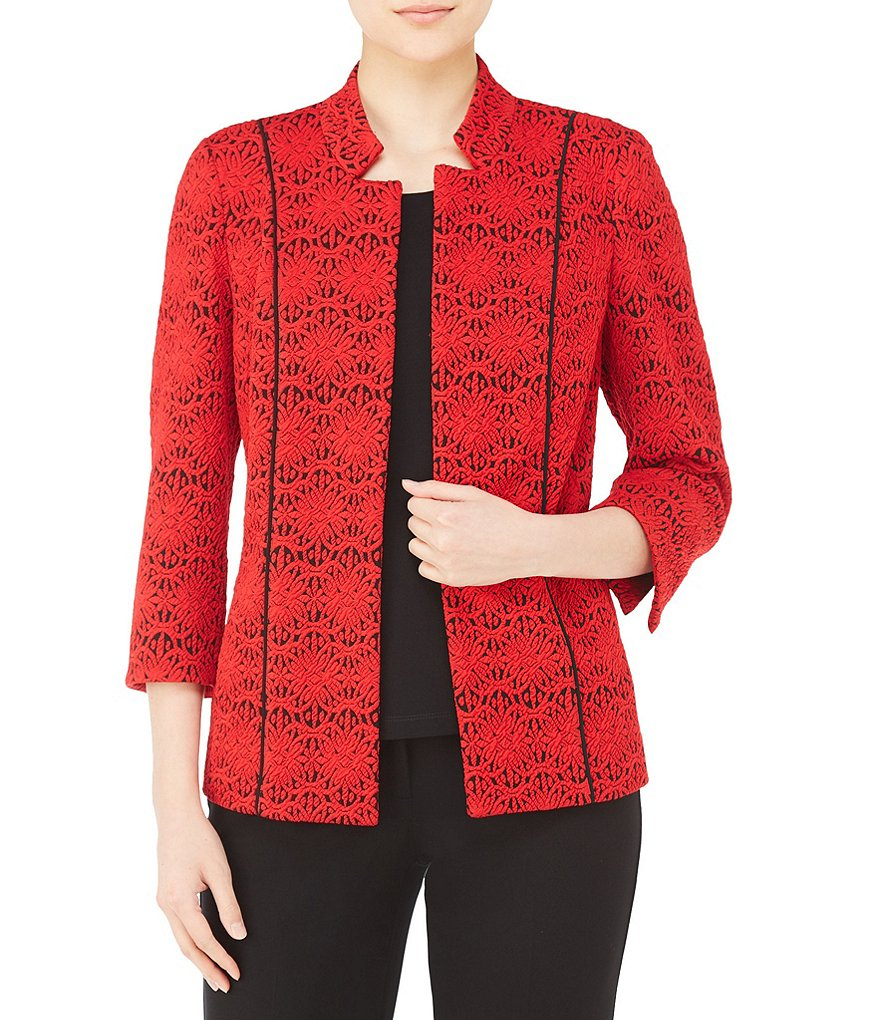 Allison Daley Stand Collar Two-Tone Circle Knit Open Front Jacket