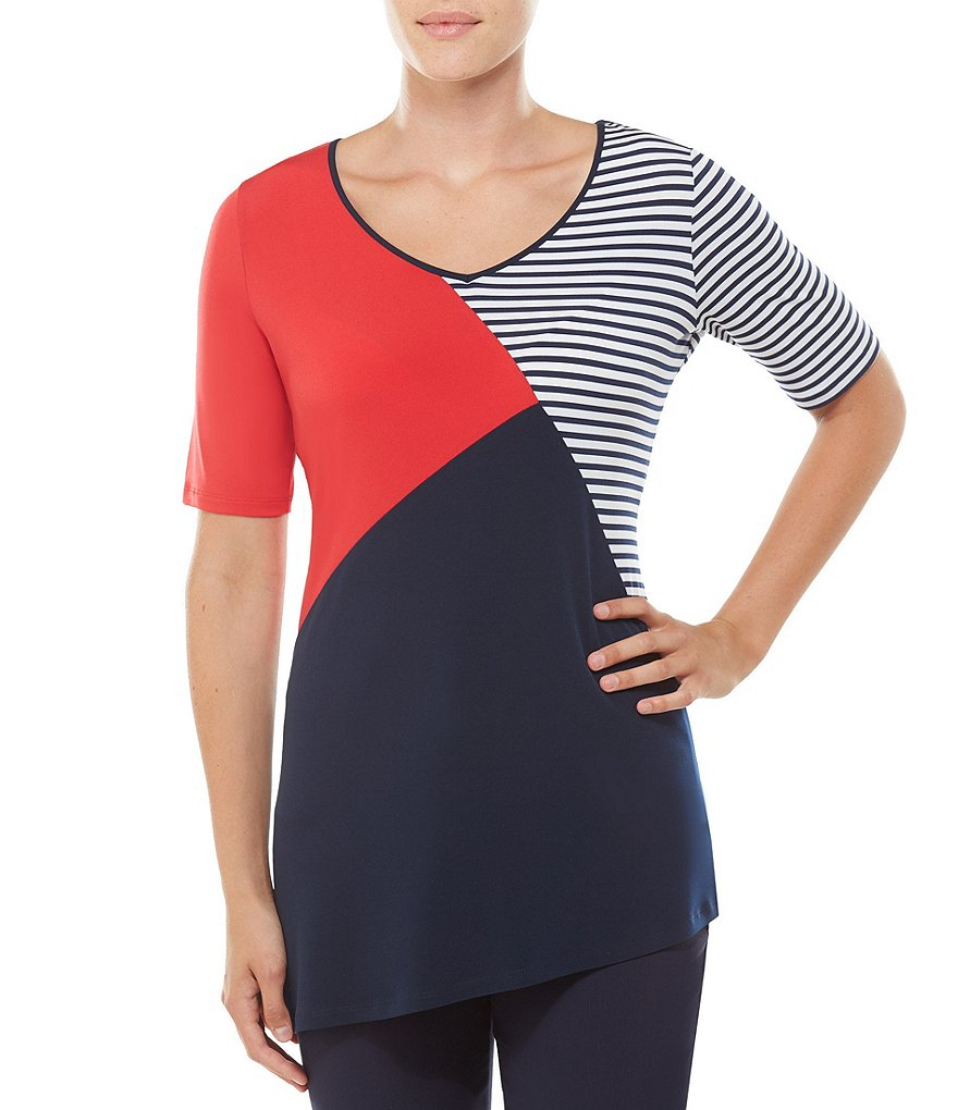 Allison Daley V-Neck Colorblock Asymmetrical Tunic
