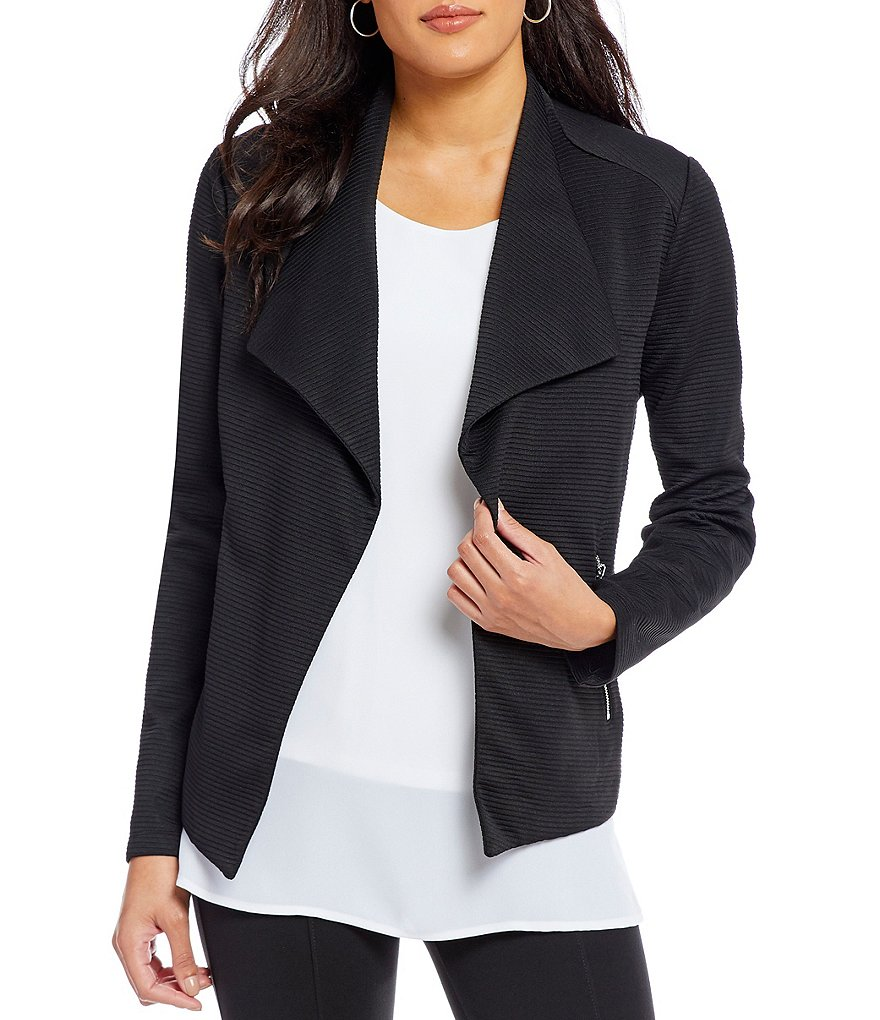 Allison Daley Wing Collar Open Front Jacket