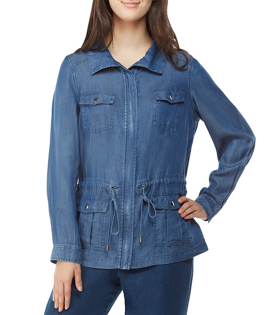 Allison Daley Zip Front Lyocell Denim Anorak Jacket