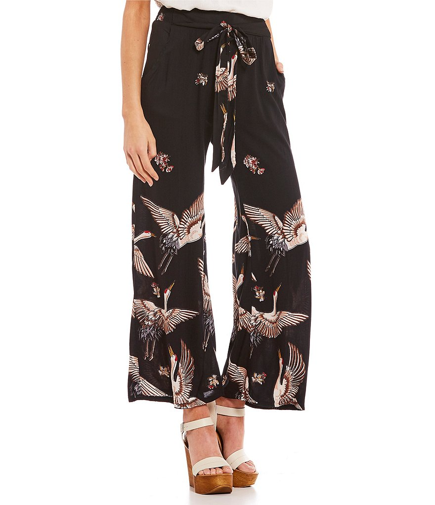Angie Bird-Printed Tie Front Wide-Leg Pants