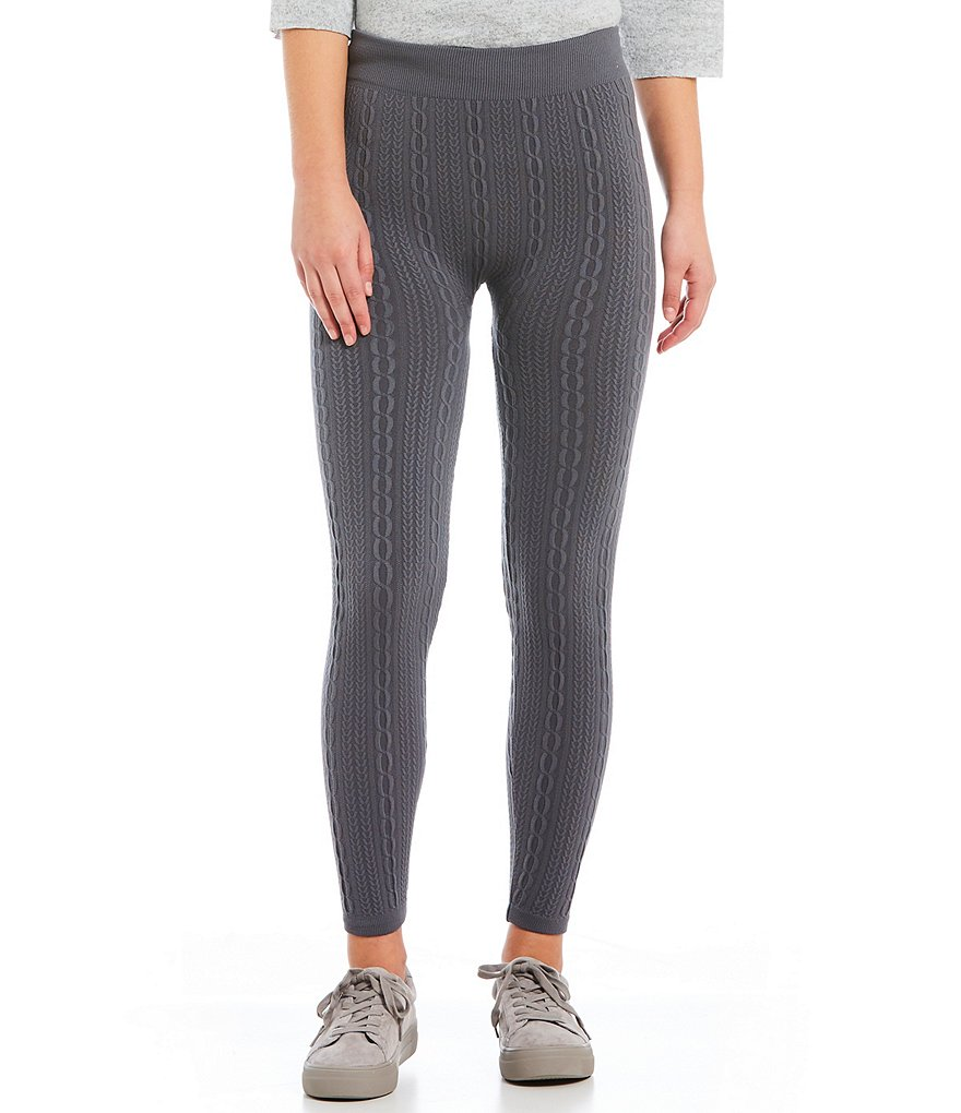 Angie Cable-Knit Fleece Lined Leggings