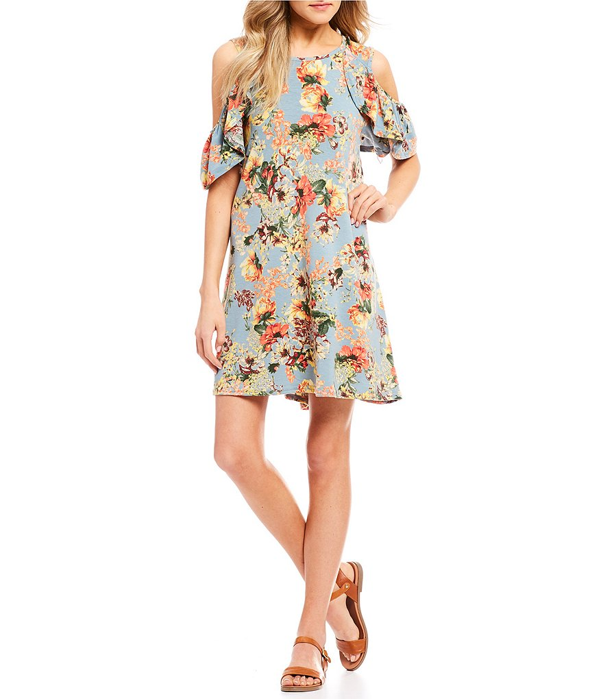 Angie Cold-Shoulder Floral-Print Shift Dress