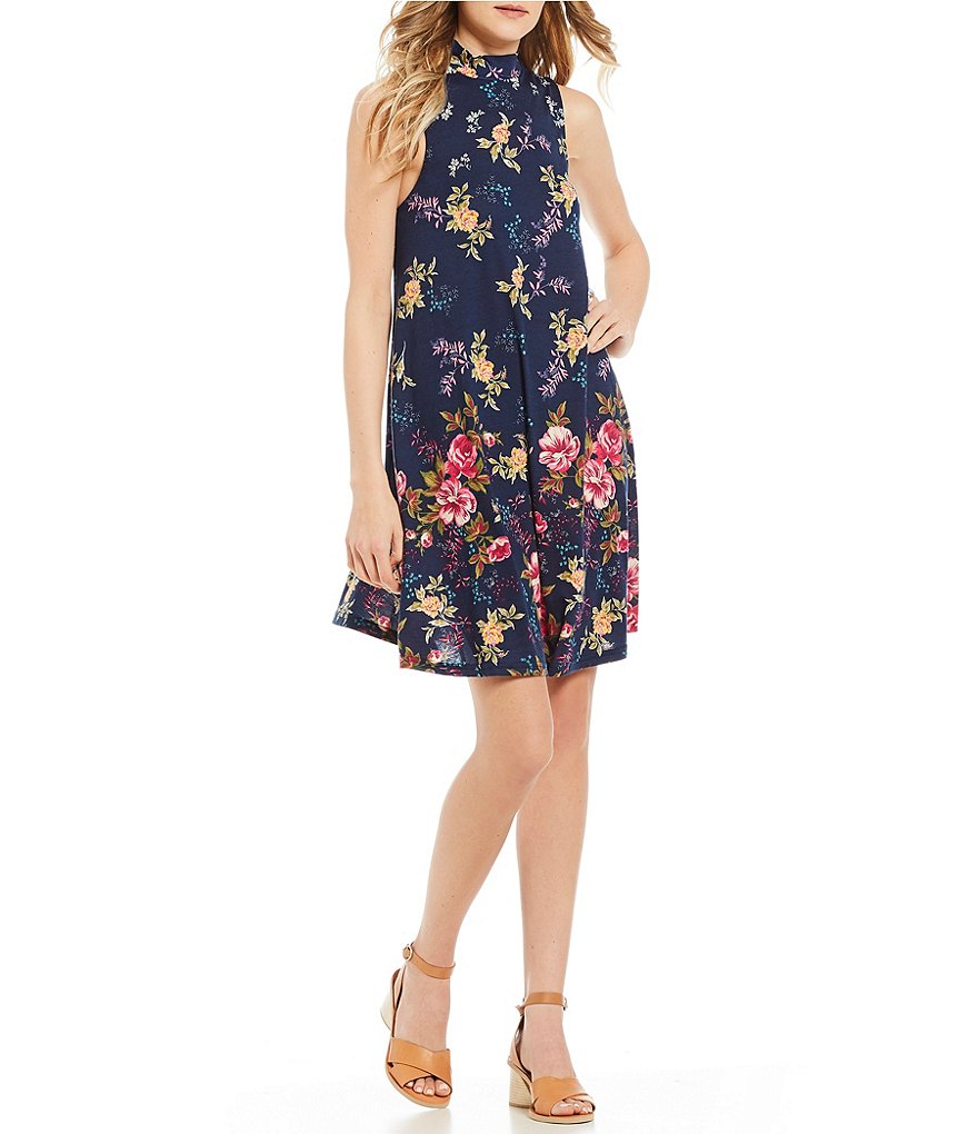 Angie Floral Mock Neck Knit Swing Dress