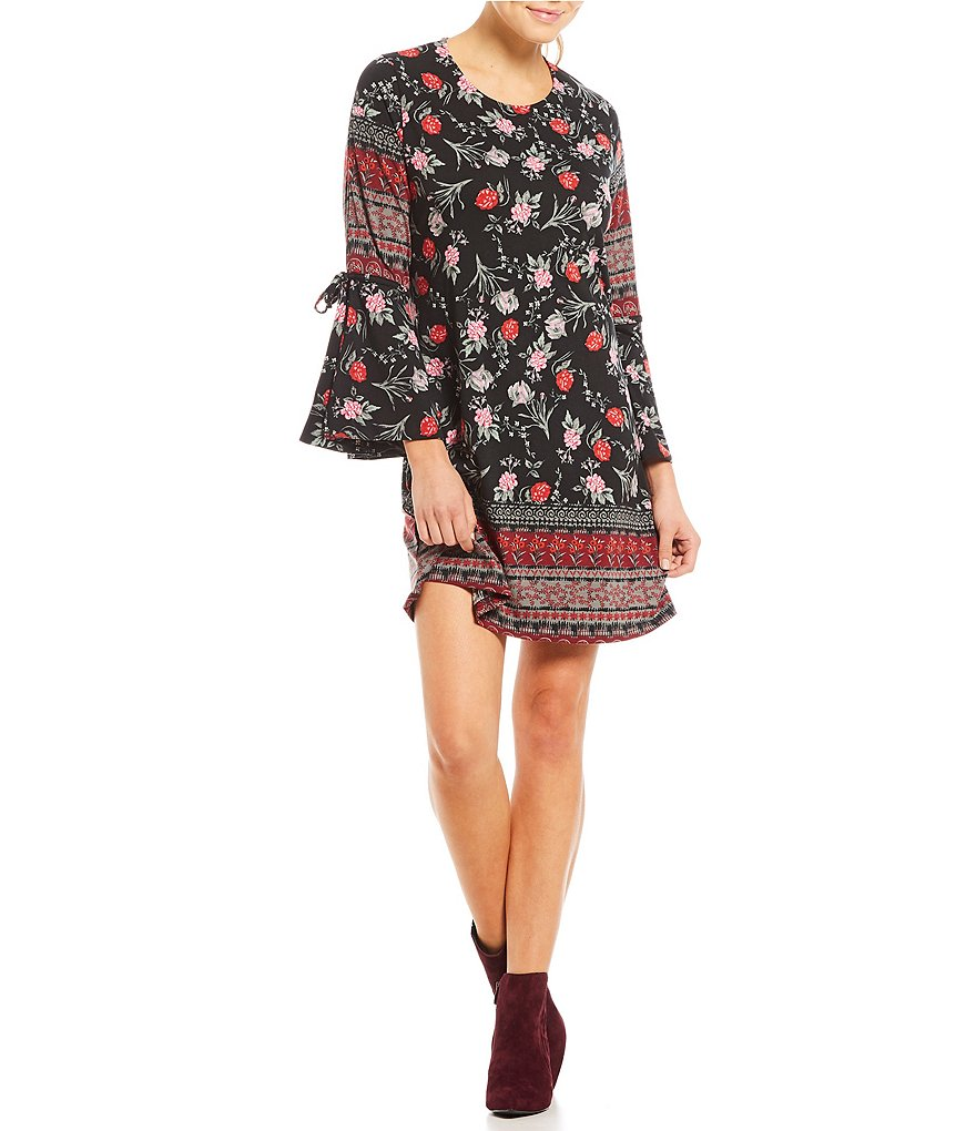 Angie Floral Printed Bell Sleeve Tie-Sleeve Shift Dress