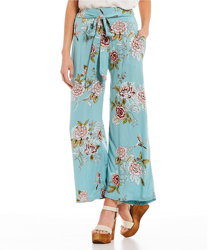Angie Floral-Printed Tie Front Wide-Leg Pants