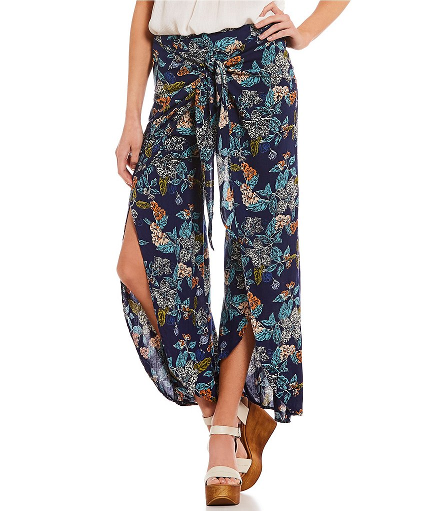 Angie Floral Printed Tie Front Wrap Culotte Pants