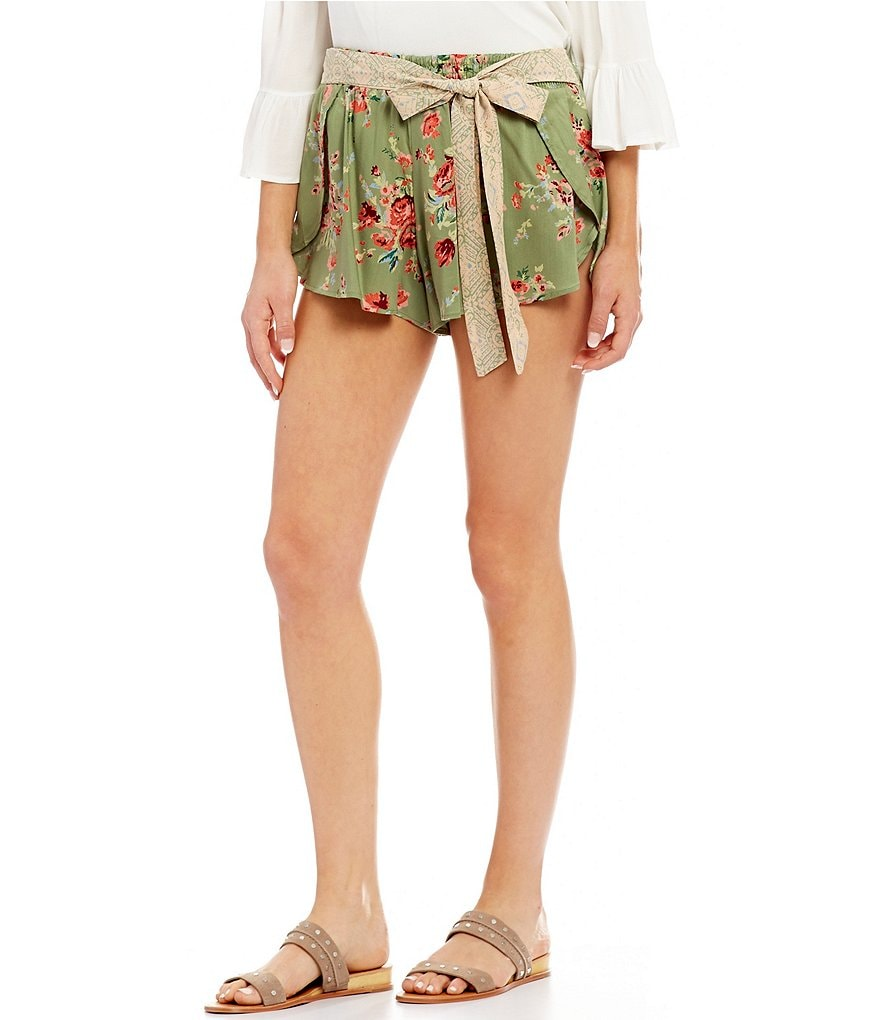 Angie Floral-Printed Tie Waist Shorts