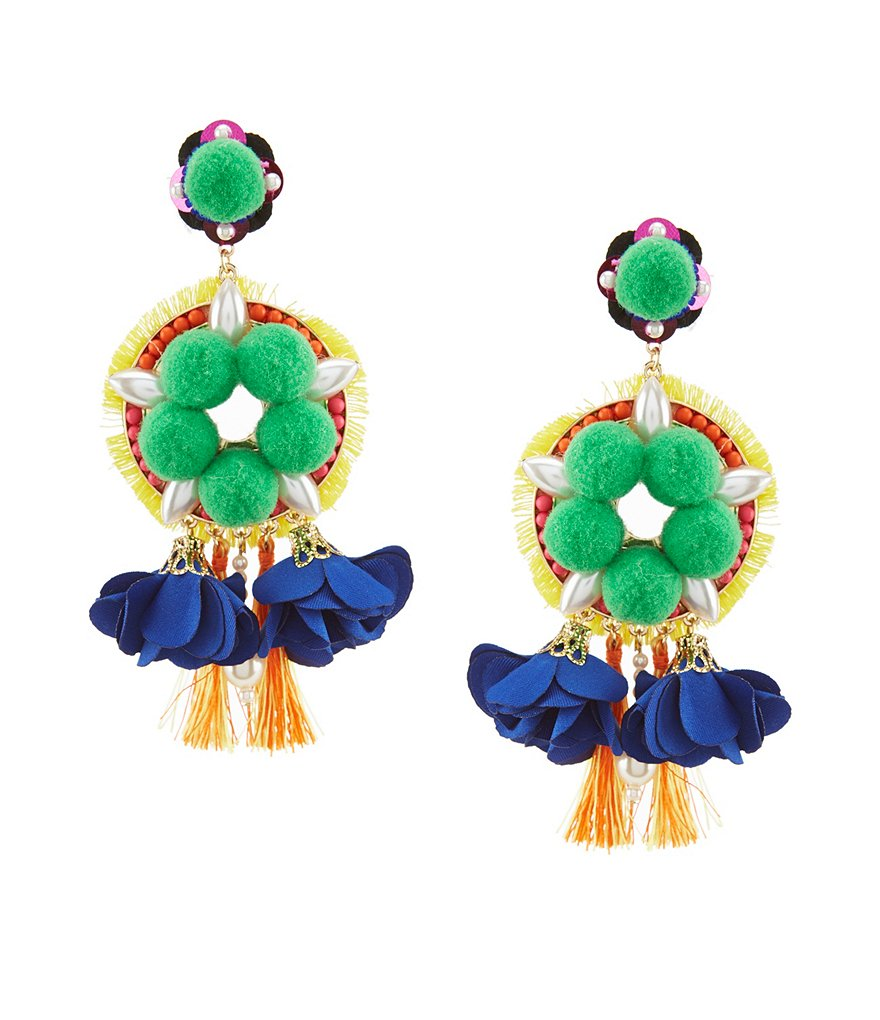 Anna & Ava Aviva Pom Pom & Tassel Statement Earrings