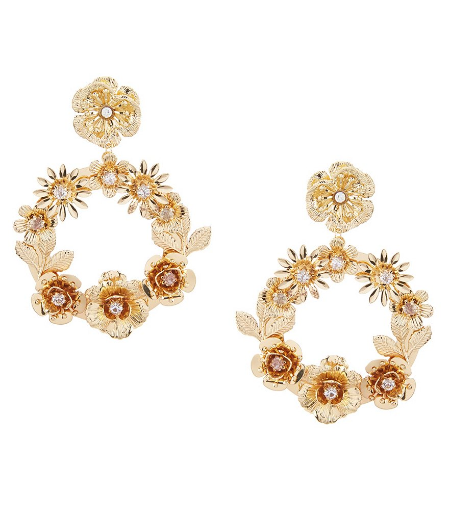Anna & Ava Emily Gold Floral Statement Earrings