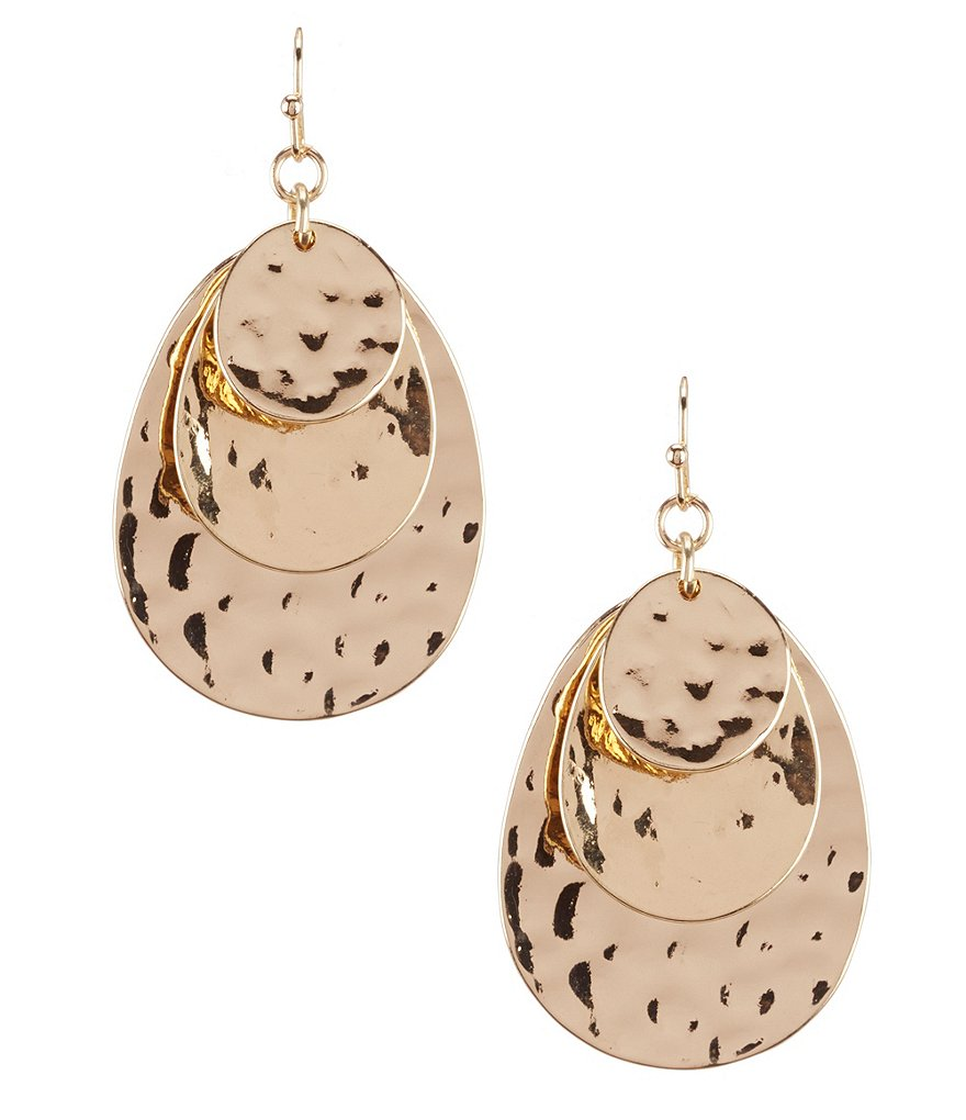 Anna & Ava Janet Hammered Drop Earrings