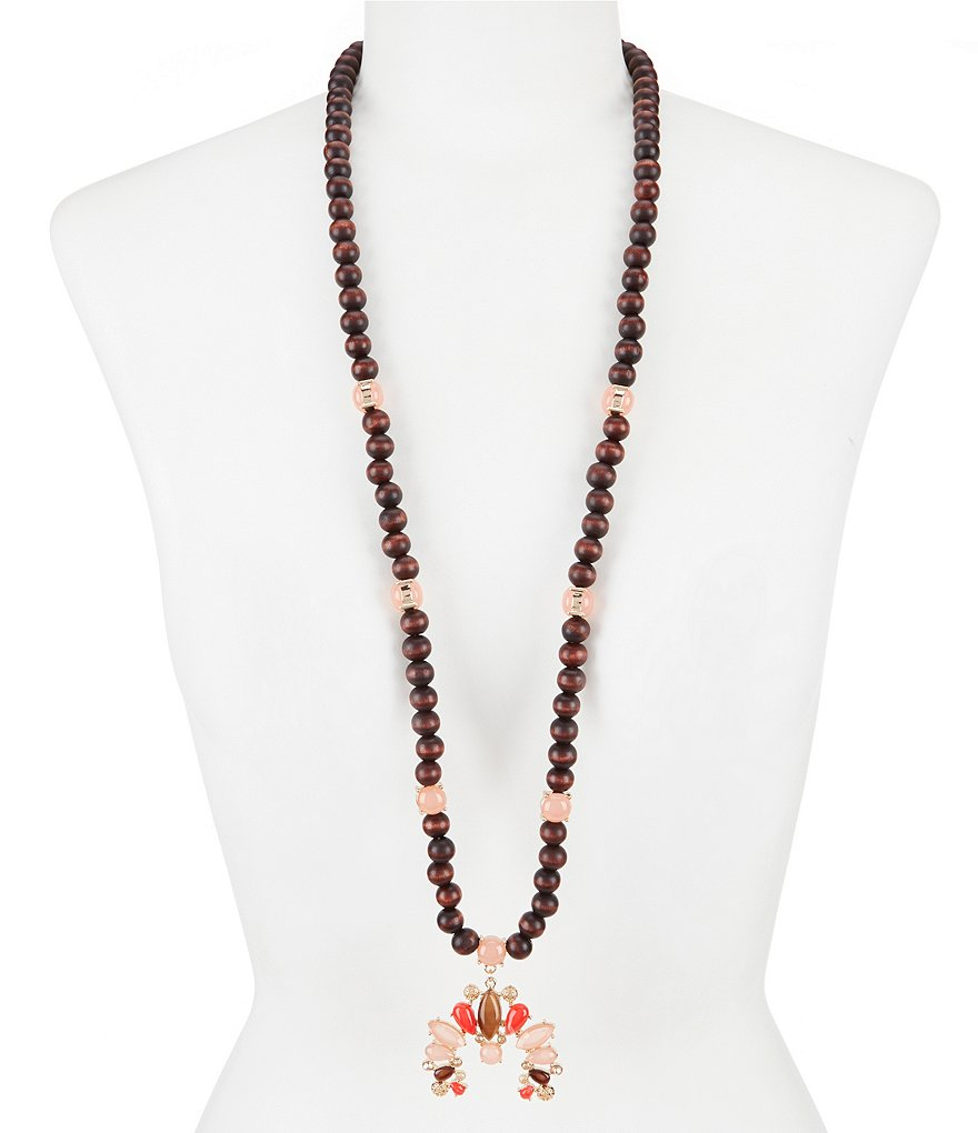 Anna & Ava Justina Wood Bead Pendant Necklace