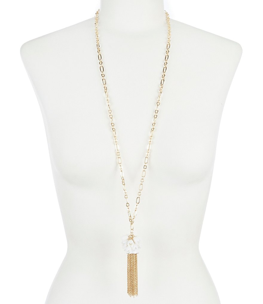 Anna & Ava Lila White Floral Tassel Necklace