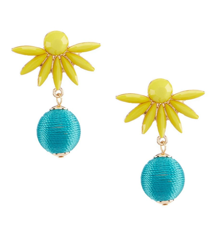 Anna & Ava Margaret Lemon and Turquoise Floral Drop Statement Earrings