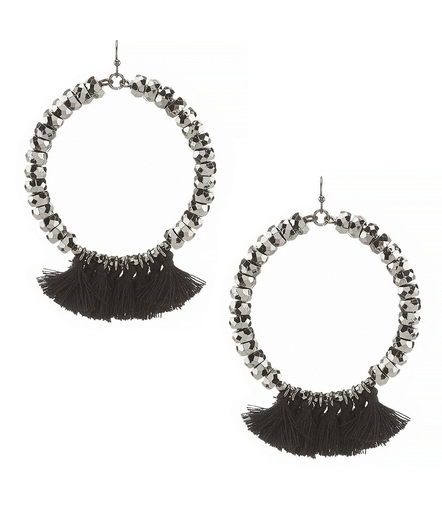 Anna & Ava Marissa Tasseled Drop Hoop Statment Earrings