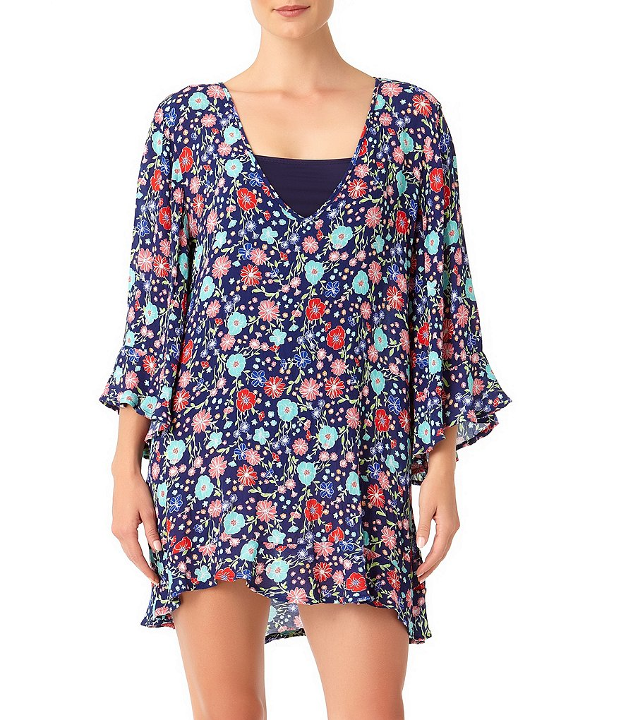 Anne Cole Lazy Daisy Floral Print Bell Sleeve Tunic Cover Up