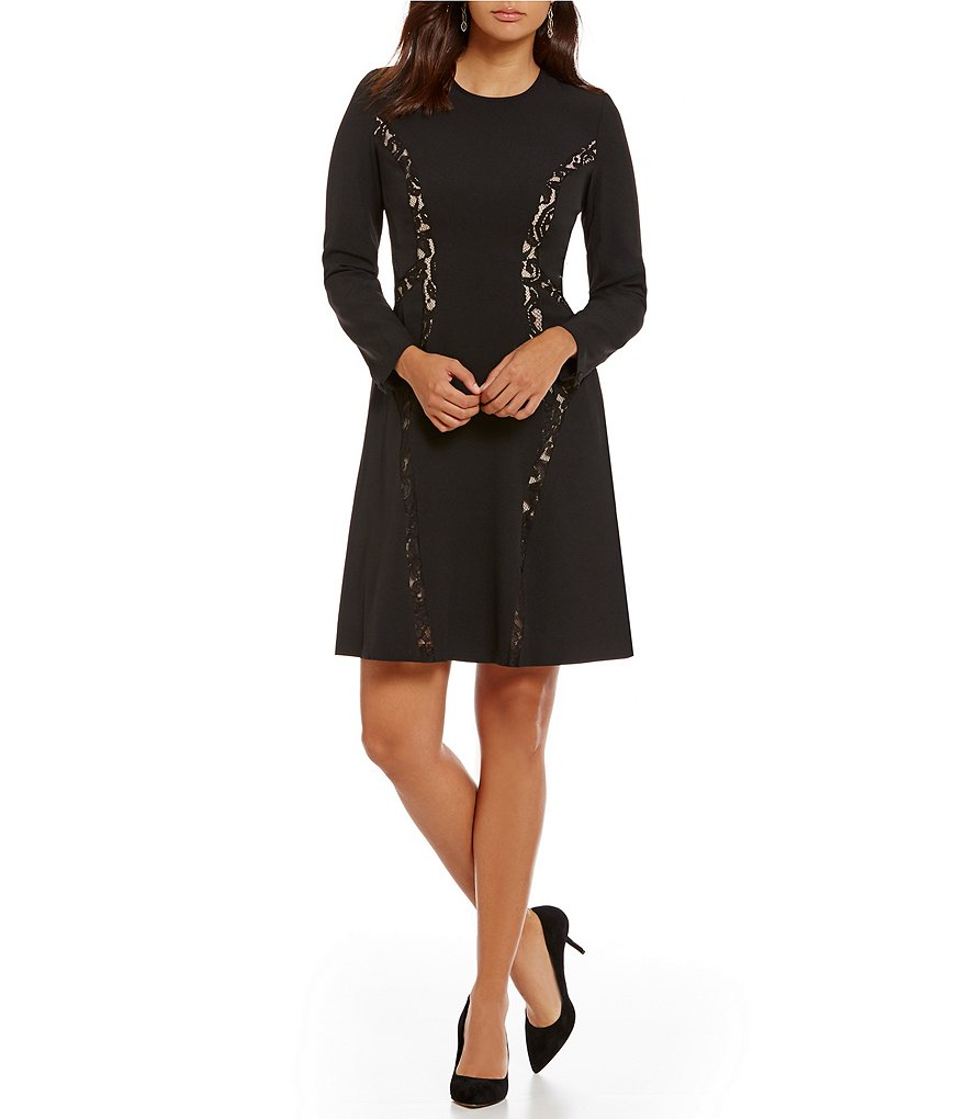 Anne Klein Crepe Lace Combo Fit-and-Flare Jewel Neck Dress