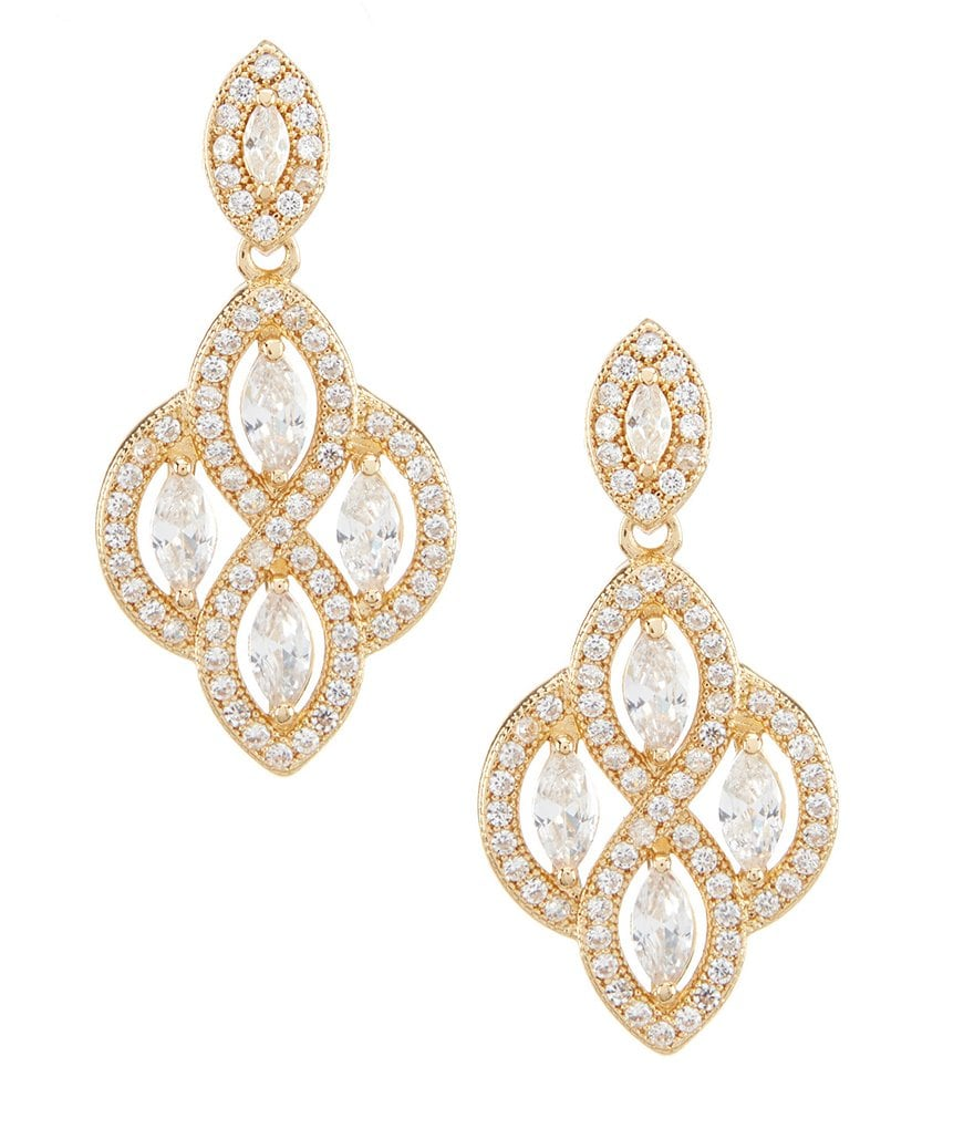 Anne Klein Cubic Zirconia Chandelier Statement Earrings