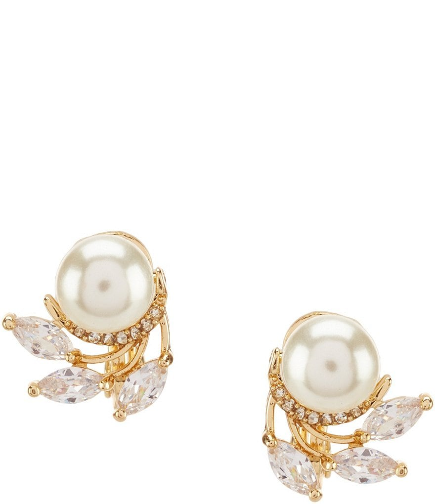 Anne Klein Faux-Pearl Clip-On Stud Earrings