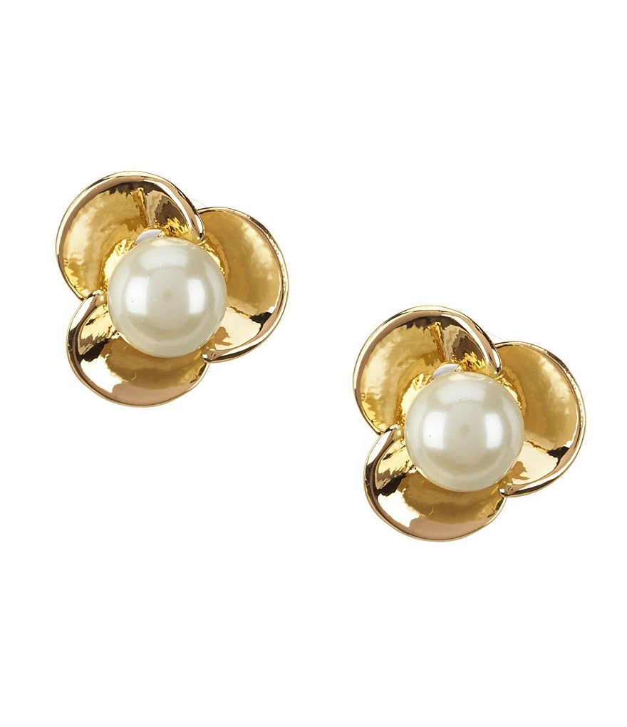 Anne Klein Faux-Pearl Blossom Stud Earrings