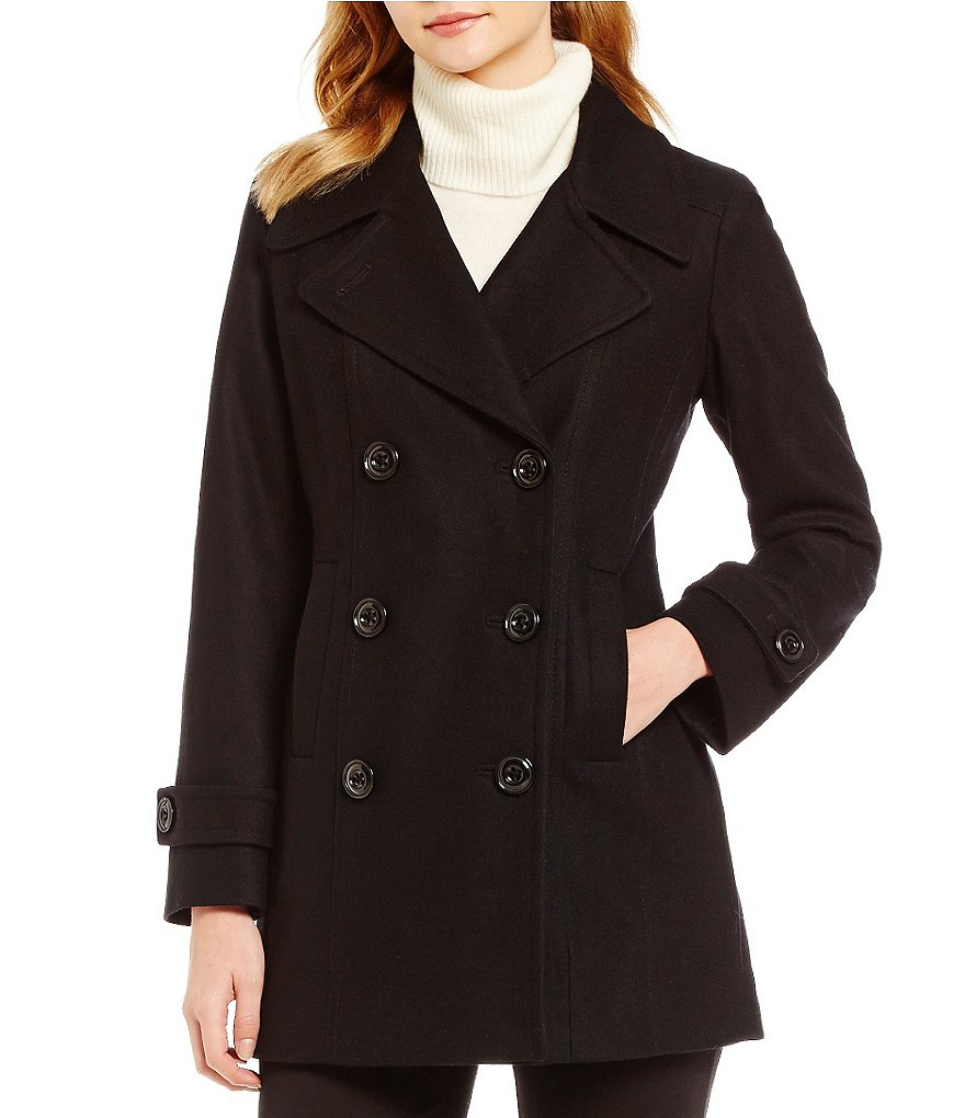 Anne Klein Petite Double Breasted Wool Mid Length Peacoat