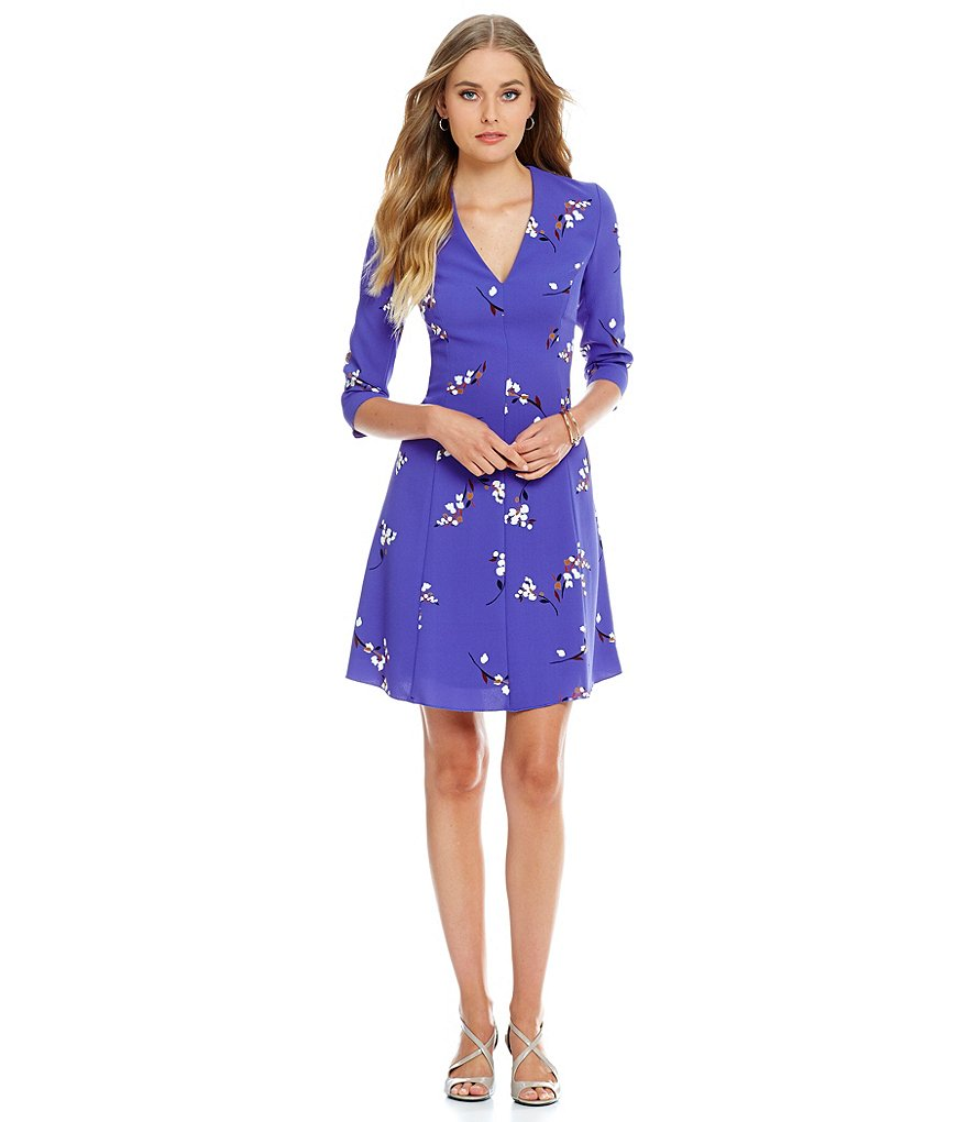 Anne Klein Printed Crepe Fit-and-Flare Dress