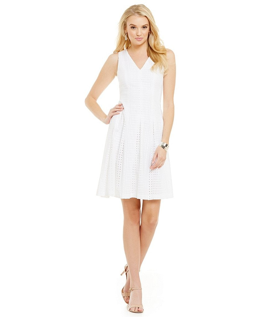 Anne Klein V-Neck Eyelet Fit-and-Flare Dress
