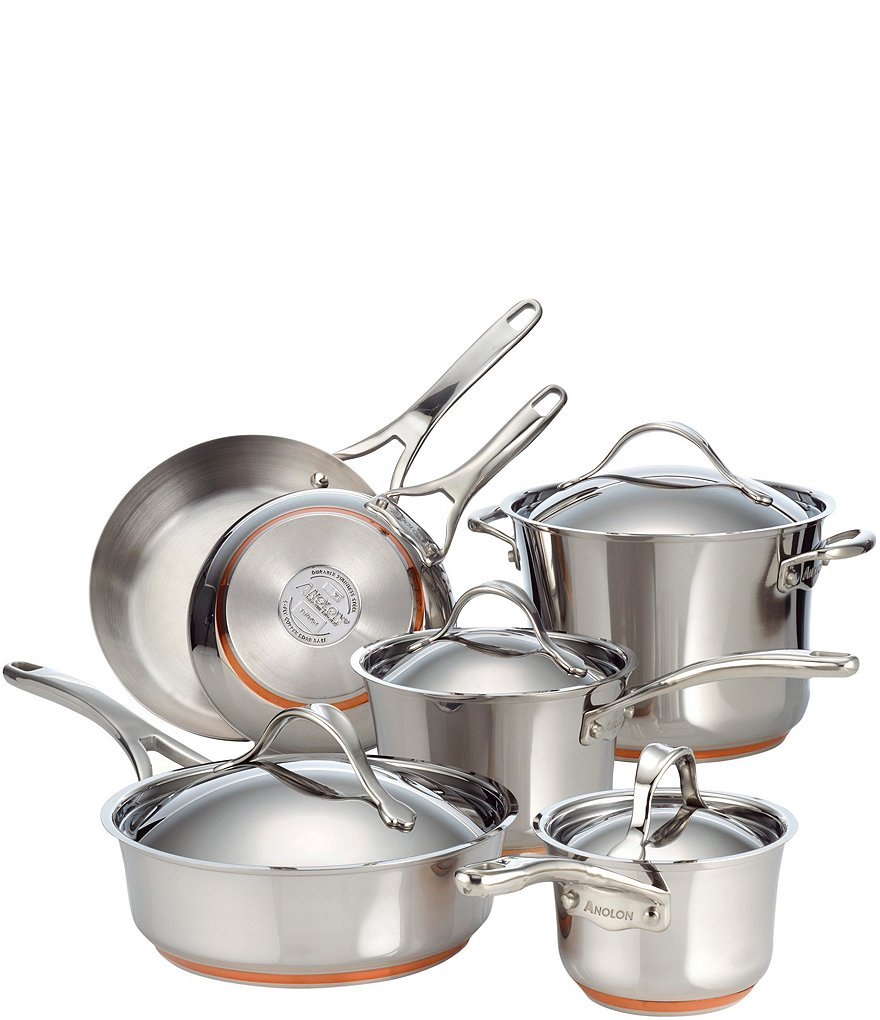 Anolon Nouvelle Copper & Stainless Steel 10-Piece Cookware Set