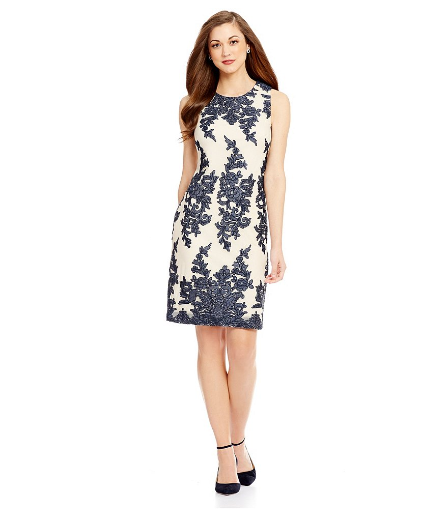Antonio Melani Avery Embroidered Mesh Sheath Dress