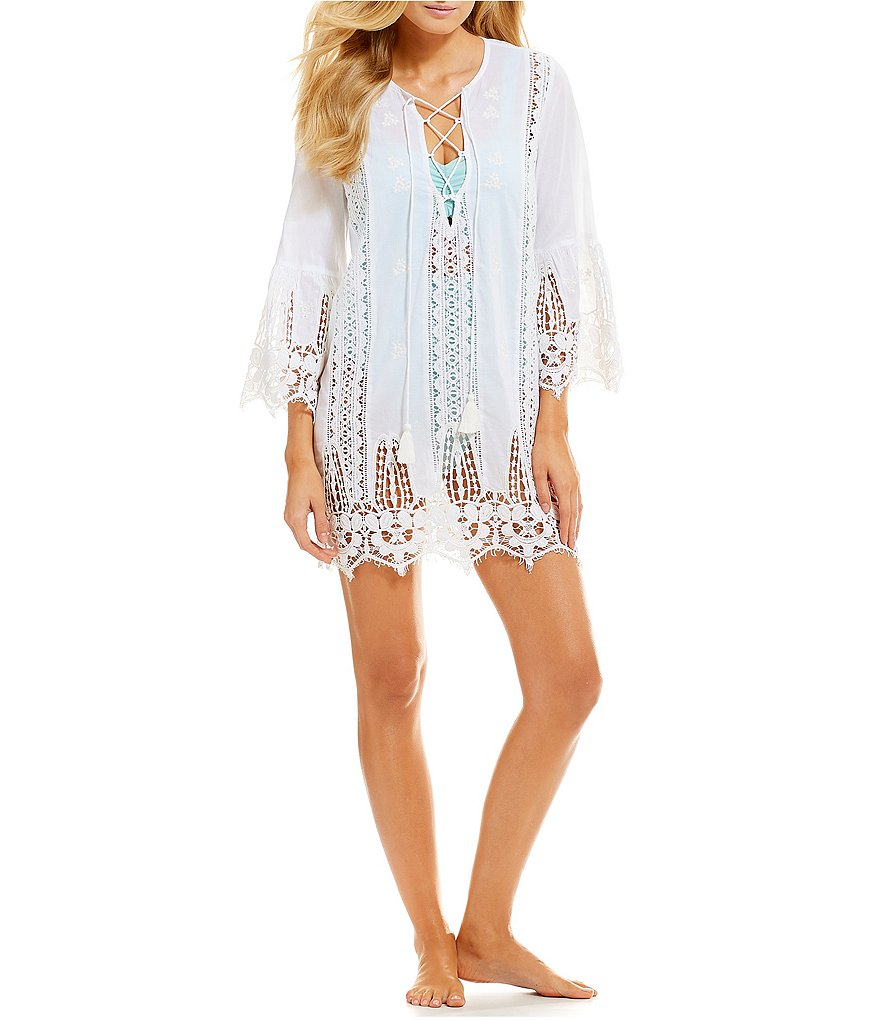 Antonio Melani Bell Sleeve Lace Tunic Swimsuit Cover-Up