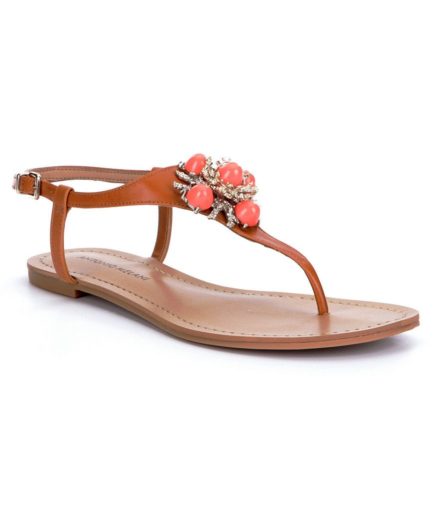 Antonio Melani Bling Ornamented Thong Sandals