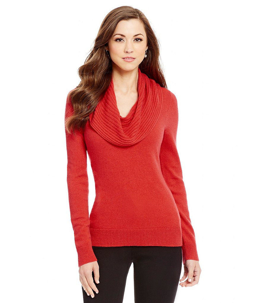 Antonio Melani Cashmere Laurent Ribbed Cowl Neck Sweater