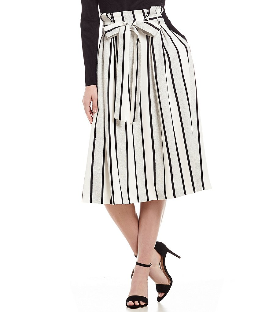 Antonio Melani Centro Striped Tie Waist Midi Skirt