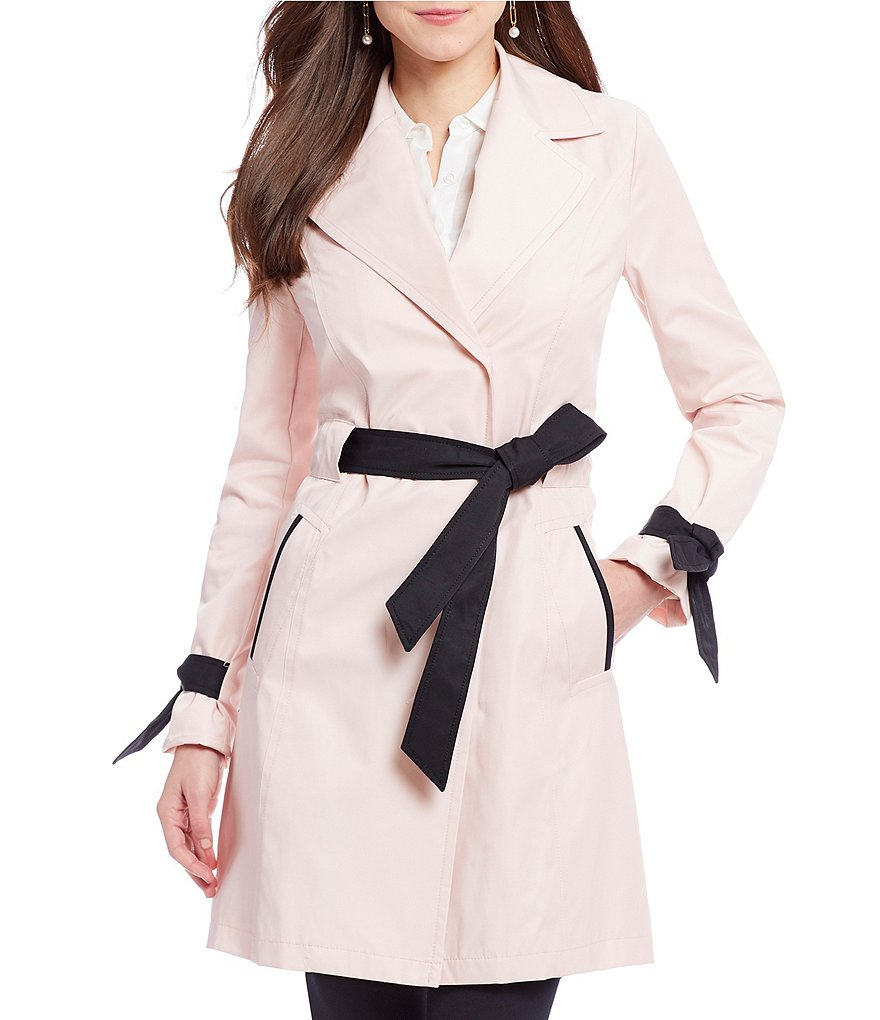 Antonio Melani Double Breasted Grossgrain Trim Trench Coat