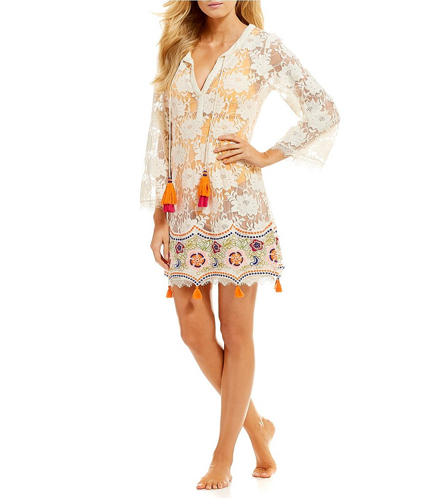 Antonio Melani Embroidered Tassel Tunic Dress Swimsuit Cover-Up