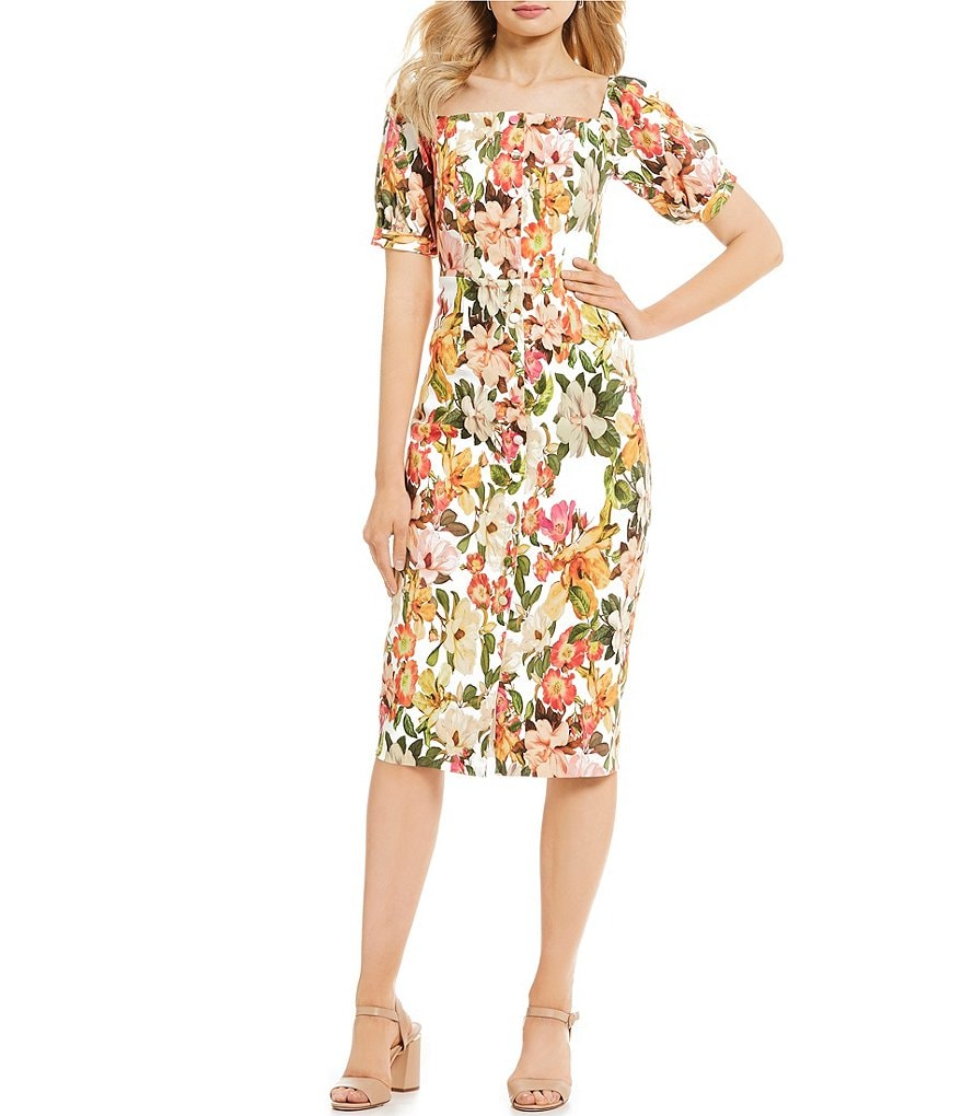 Antonio Melani Erin Floral Print Square Neck Puff Sleeve Midi Length Stretch Crepe Sheath Dress