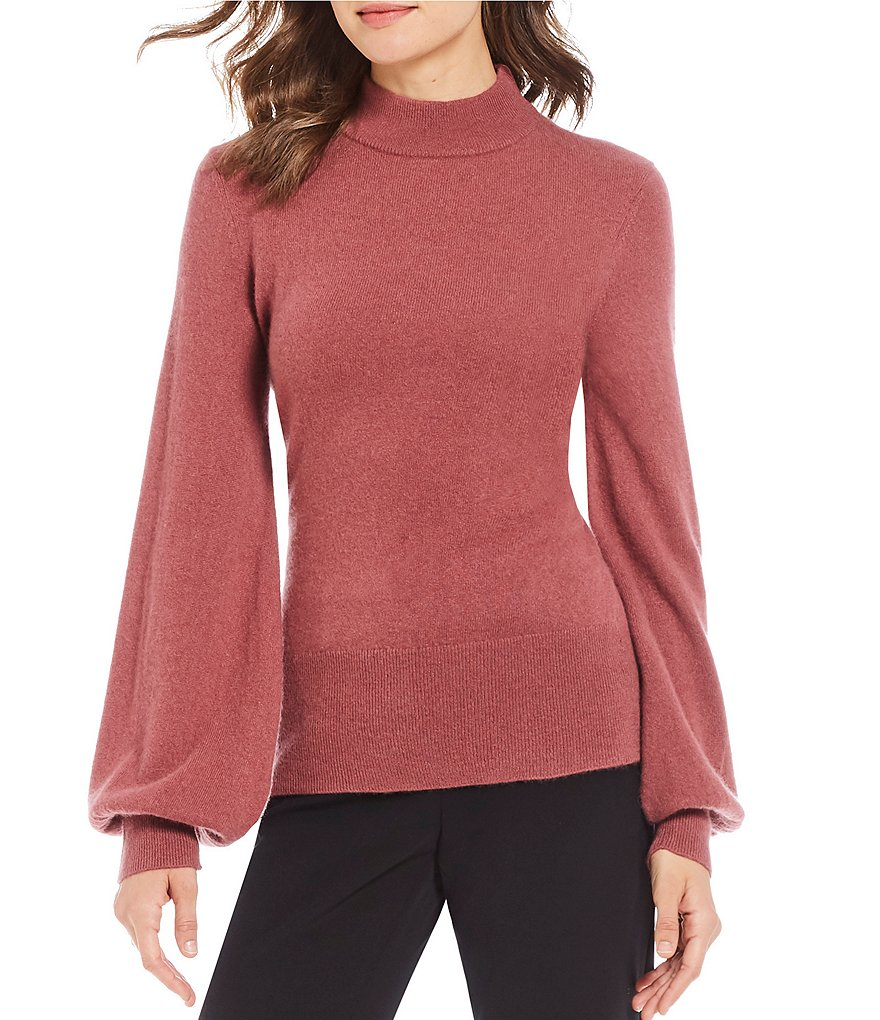 Antonio Melani Luxury Collection Cashmere Allie Mock Neck Bishop Sleeve Sweater