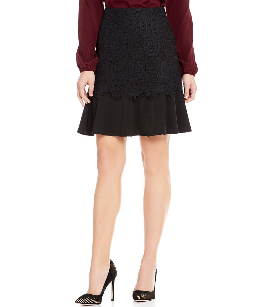 Antonio Melani Nicha Lace Detaled Solid Crepe Fit-and-Flare Skirt