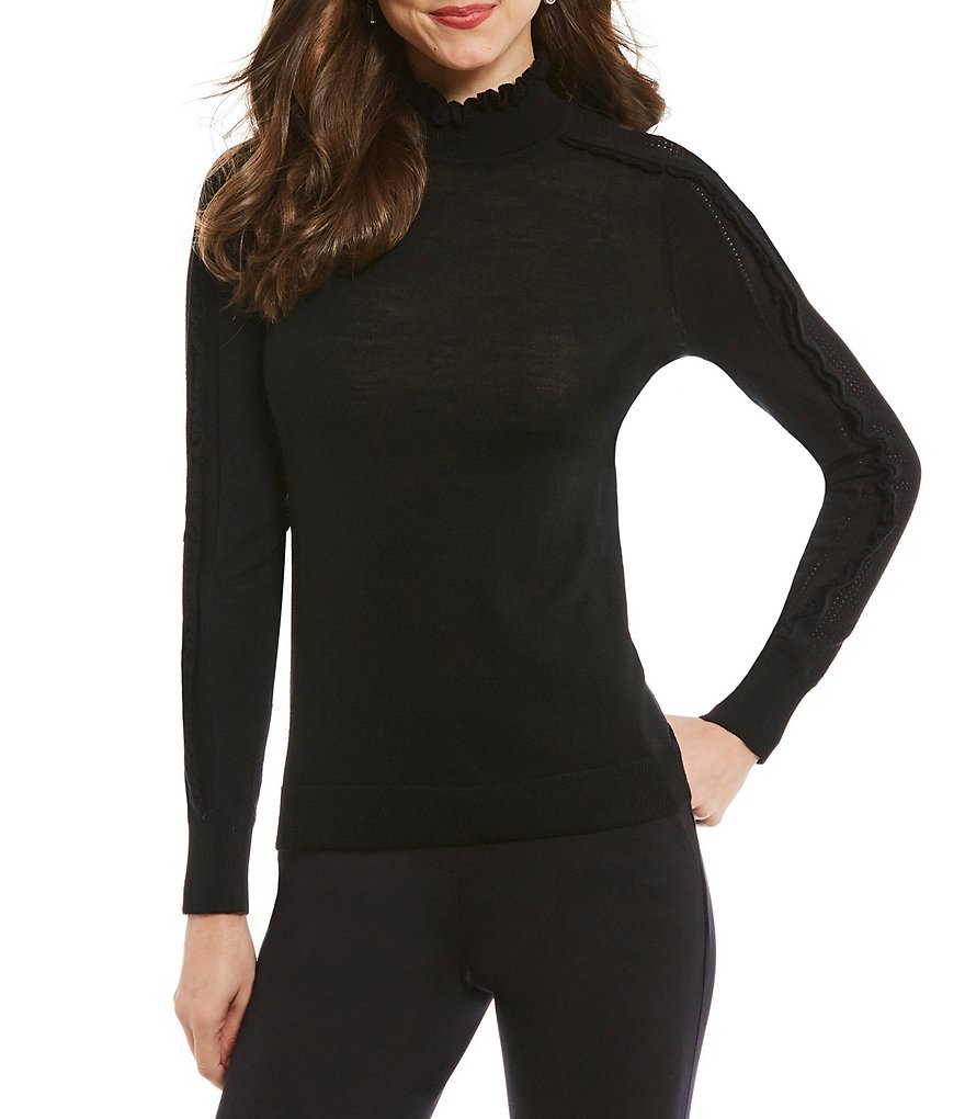 Antonio Melani Nicole Pointelle Turtleneck Sweater