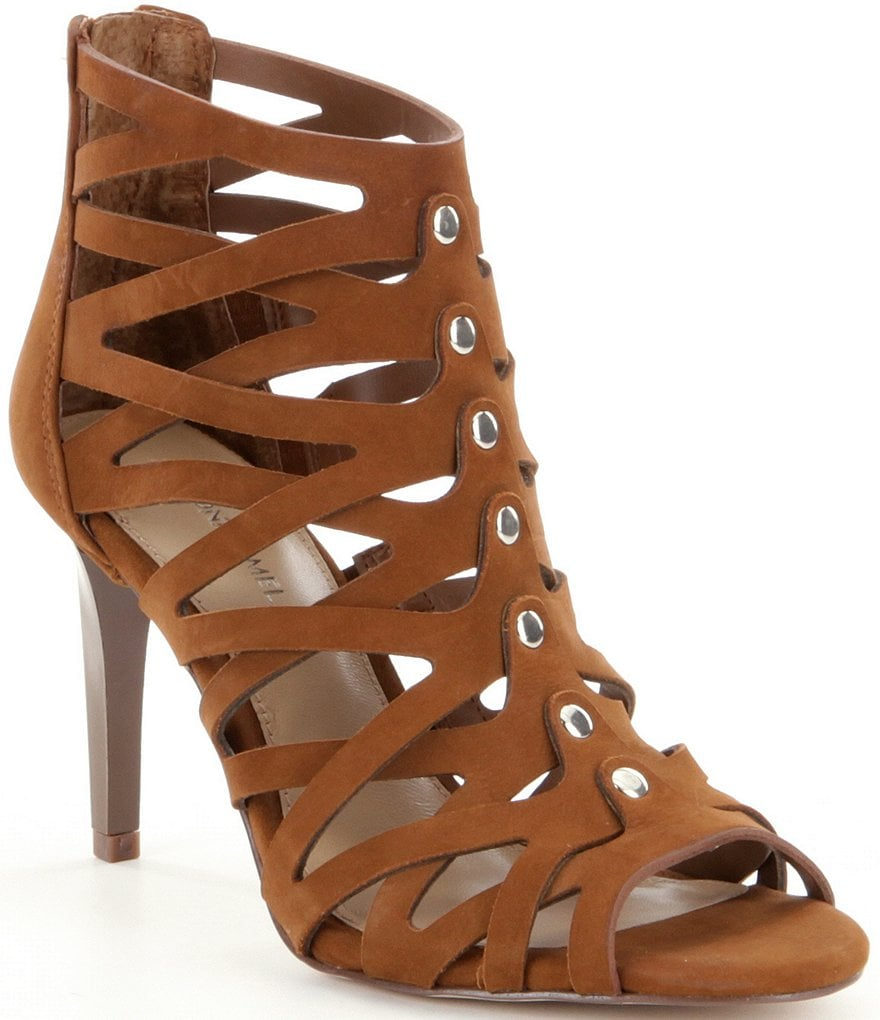 Antonio Melani Palika Leather Gladiator Inspired Stud Detail Back Zip Peep Toe Pumps