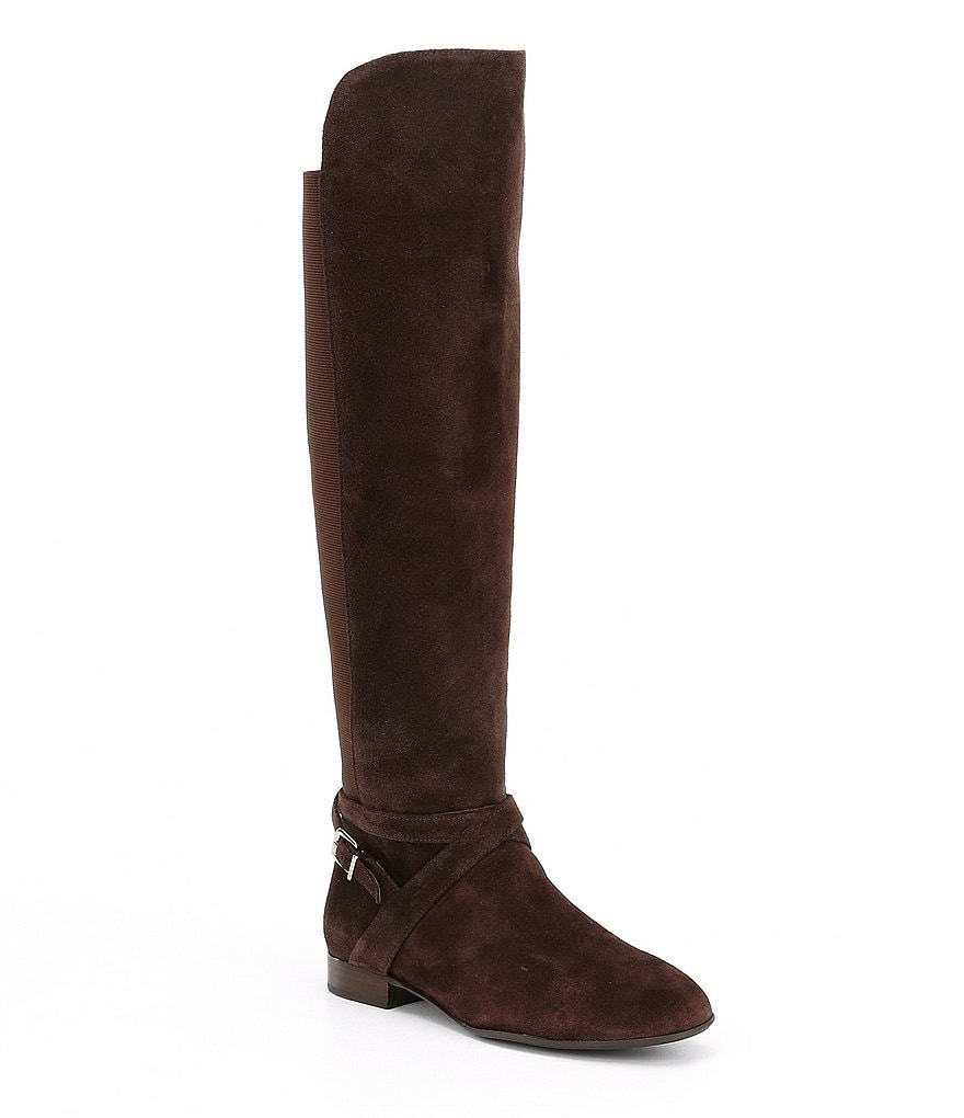 Antonio Melani Pesha Suede Strap Buckle Detail Over the Knee Block Heel Riding Boots