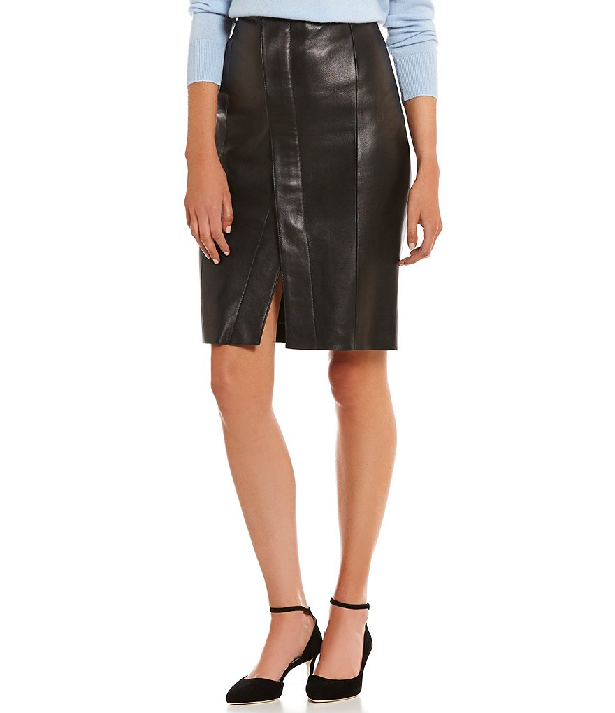 Antonio Melani Phoenix Asymmetric Genuine Leather Skirt