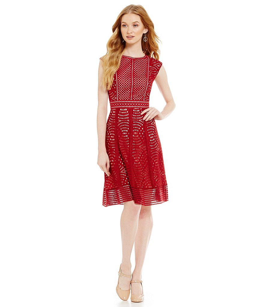 Antonio Melani Rowena Cap Sleeve A-Line Lace Dress