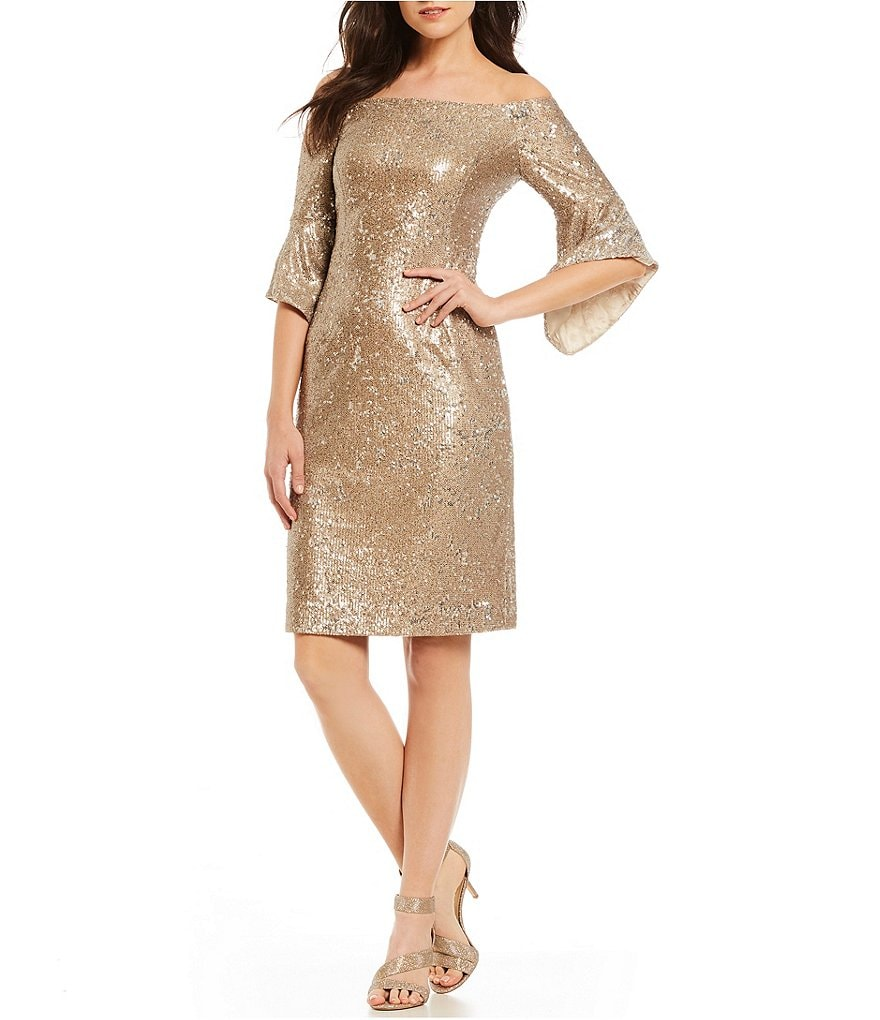 Antonio Melani Sabo Off the Shoulder Bell Sleeve Sequin Dress